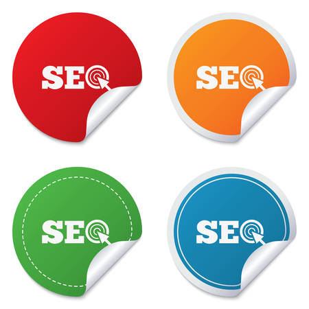 SEO sign icon. Search Engine Optimization symbol. Round stickers. Circle labels with shadows. Curved corner. Vector Vector