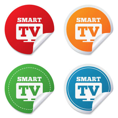 Widescreen Smart TV sign icon. Television set symbol. Round stickers. Circle labels with shadows. Curved corner. Vector Vector