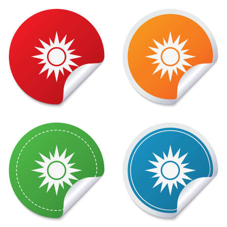 solarium: Sun sign icon. Solarium symbol. Heat button. Round stickers. Circle labels with shadows. Curved corner. Vector