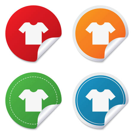 folded clothes: T-shirt sign icon. Clothes symbol. Round stickers. Circle labels with shadows. Curved corner. Vector