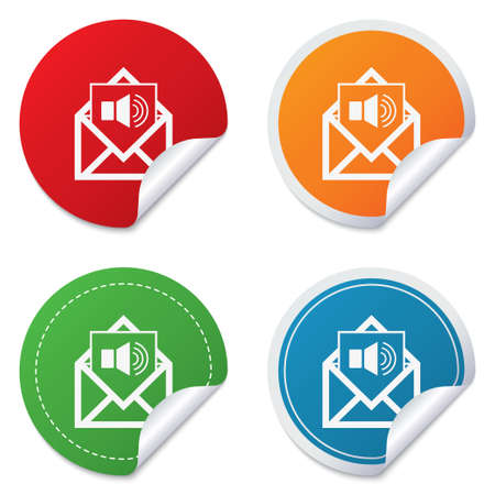 voice mail: Voice mail icon. Speaker symbol. Audio message. Round stickers. Circle labels with shadows. Curved corner. Vector Illustration