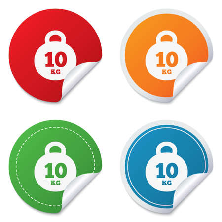 kilogram: Weight sign icon. 10 kilogram (kg). Sport symbol. Fitness. Round stickers. Circle labels with shadows. Curved corner. Vector Illustration