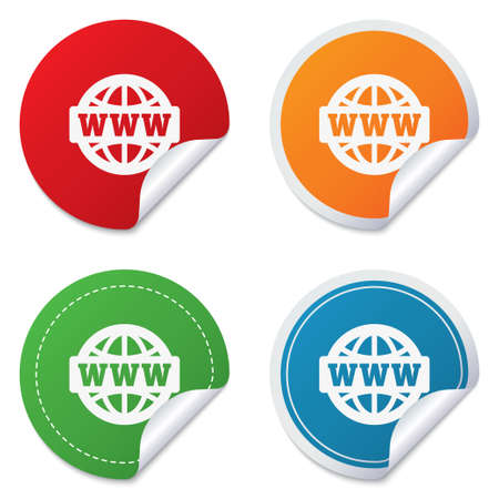 www at sign: WWW sign icon. World wide web symbol. Globe. Round stickers. Circle labels with shadows. Curved corner. Vector