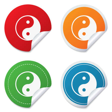 daoism: Ying yang sign icon. Harmony and balance symbol. Round stickers. Circle labels with shadows. Curved corner. Vector