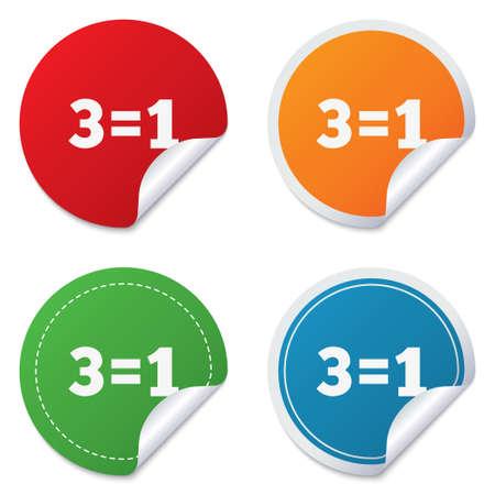 equals: Drei f�r ein Zeichen-Symbol. Nehmen Sie drei Lohn f�r einen Verkauf-Taste. 3 gleich 1 ist. Runde Aufkleber. Kreis-Etiketten mit Schatten. Gebogene Ecke. Vektor