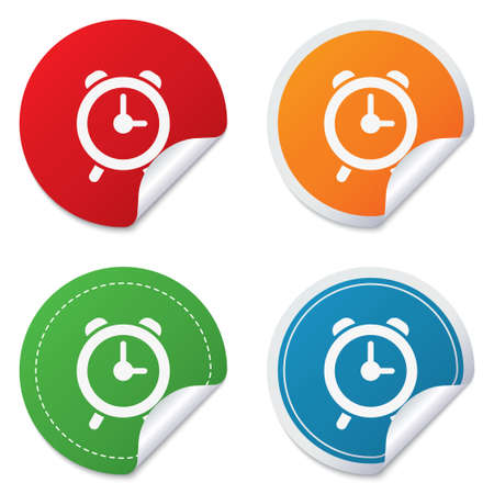 corner clock: Alarm clock sign icon. Wake up alarm symbol. Round stickers. Circle labels with shadows. Curved corner. Vector