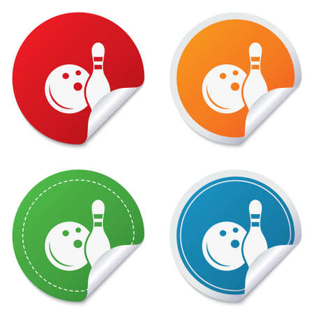 Bowling game sign icon. Ball with pin skittle symbol. Round stickers. Circle labels with shadows. Curved corner. Vector Vector