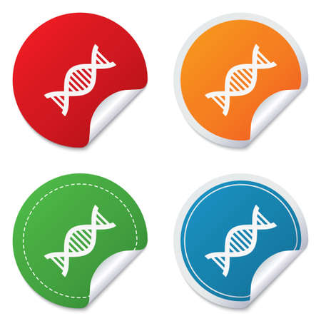acid deoxyribonucleic: DNA sign icon. Deoxyribonucleic acid symbol. Round stickers. Circle labels with shadows. Curved corner. Vector