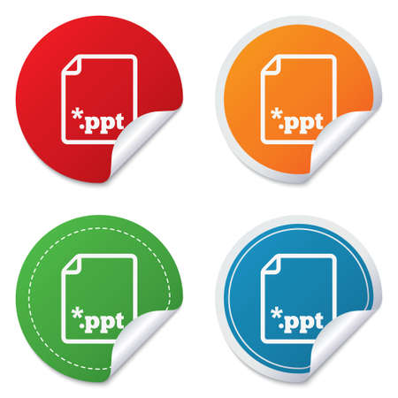 ppt: File presentation icon. Download PPT button. PPT file extension symbol. Round stickers. Circle labels with shadows. Curved corner. Vector