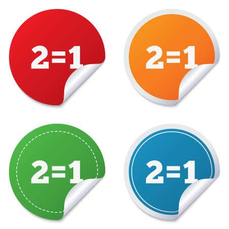 equals: Zwei f�r einen Zeichen-Symbol. Nehmen Sie zwei Lohn f�r einen Verkauf-Taste. 2 ist gleich 1. Runde Aufkleber. Kreis-Etiketten mit Schatten. Gebogene Ecke. Vektor