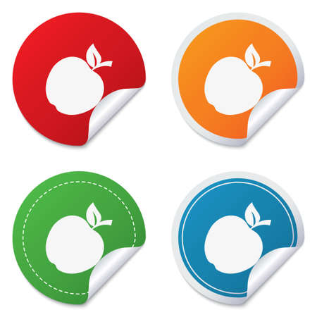 Apple sign icon. Fruit with leaf symbol. Round stickers. Circle labels with shadows. Curved corner. Vector Vector
