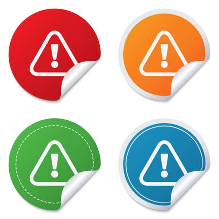 Attention sign icon. Exclamation mark. Hazard warning symbol. Round stickers. Circle labels with shadows. Curved corner. Vector Illustration
