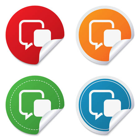 Chat sign icon. Speech bubble symbol. Communication chat bubble. Round stickers. Circle labels with shadows. Curved corner. Vector Vector
