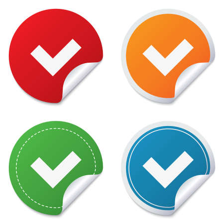 check sign: Check sign icon. Yes button. Round stickers. Circle labels with shadows. Curved corner. Vector