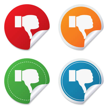 Dislike sign icon. Thumb down sign. Hand finger down symbol. Round stickers. Circle labels with shadows. Curved corner. Vector Vector
