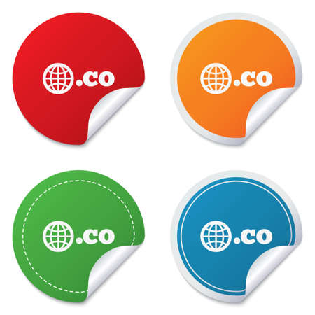 co: Domain CO sign icon. Top-level internet domain symbol with globe. Round stickers. Circle labels with shadows. Curved corner. Vector