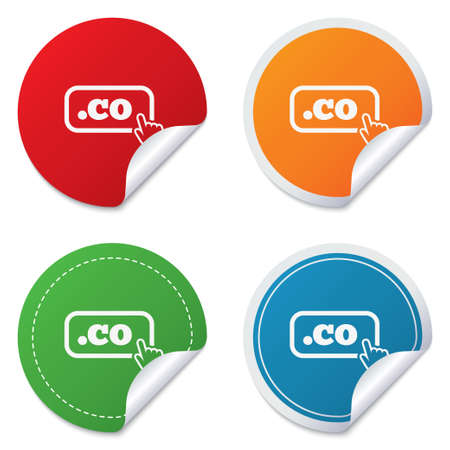 Domain CO sign icon. Top-level internet domain symbol with hand pointer. Round stickers. Circle labels with shadows. Curved corner. Vector
