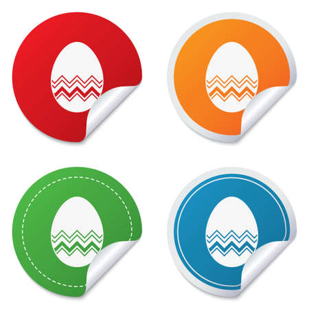 Easter egg sign icon. Easter tradition symbol. Round stickers. Circle labels with shadows. Curved corner. Vector Vector