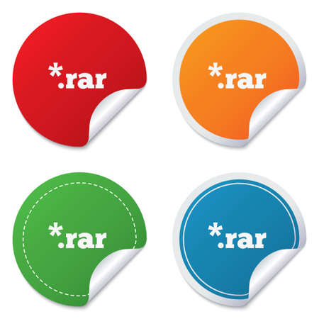 rar: Archive file icon. Download compressed file button. RAR zipped file extension symbol. Round stickers. Circle labels with shadows. Curved corner. Vector Illustration