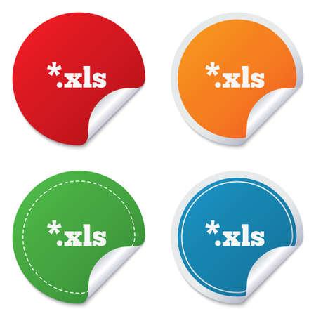 sobresalir: Icono de documento de archivo de Excel. Descarga bot�n xls. S�mbolo de extensi�n de archivo XLS. Etiquetas engomadas redondas. C�rculo etiquetas con sombras. Esquina curvada. Vector