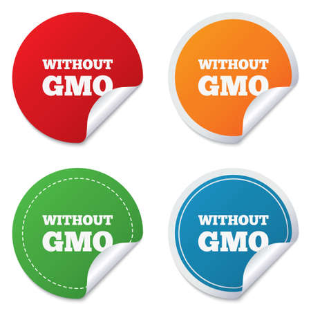 genetically: No GMO sign icon. Without Genetically modified food. Stop GMO. Round stickers. Circle labels with shadows. Curved corner. Vector