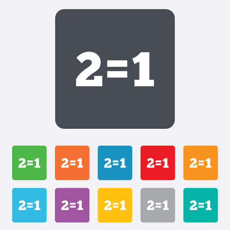equals: Two for one sign icon. Take two pay for one sale button. 2 equals 1. Rounded squares 11 buttons.