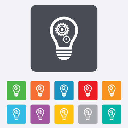 Light lamp sign icon. Bulb with gears and cogs symbol. Idea symbol. Rounded squares 11 buttons. photo