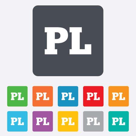 pl: Polish language sign icon. PL translation symbol. Rounded squares 11 buttons.