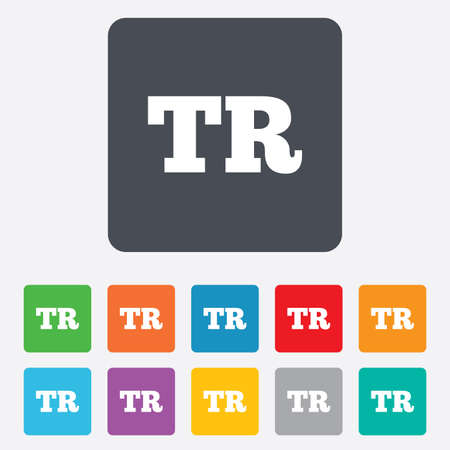 tr: Turkish language sign icon. TR Turkey Portugal translation symbol. Rounded squares 11 buttons.
