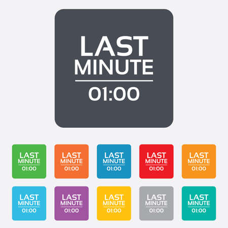 advantageous: Last minute icon. Hot travel symbol. Special offer trip. Rounded squares 11 buttons.