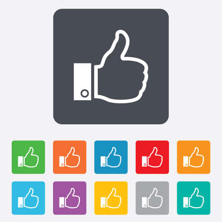 Like sign icon. Thumb up sign. Hand finger up symbol. Rounded squares 11 buttons. photo