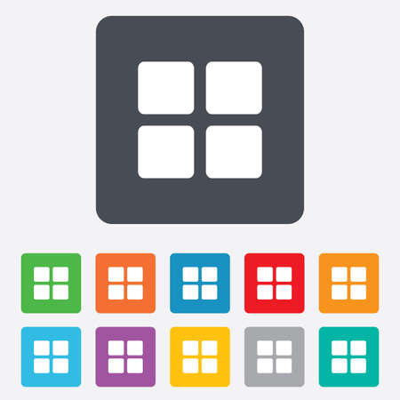 thumbnails: Thumbnails sign icon. Gallery view option symbol. Rounded squares 11 buttons.
