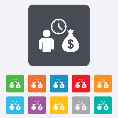 borrow: Bank loans sign icon. Get money fast symbol. Borrow money. Rounded squares 11 buttons.