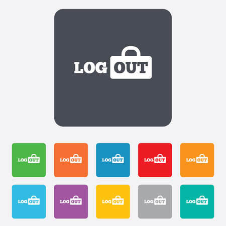 lock out: Logout sign icon. Sign out symbol. Lock icon. Rounded squares 11 buttons.