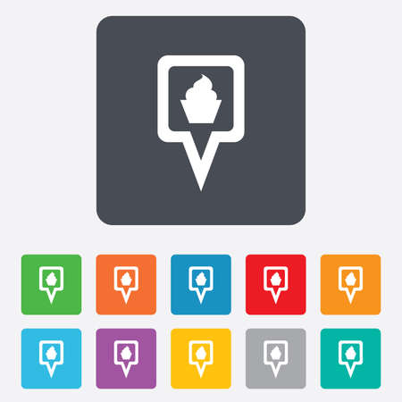 Map pointer food sign icon. Restaurant location marker symbol. Rounded squares 11 buttons. photo