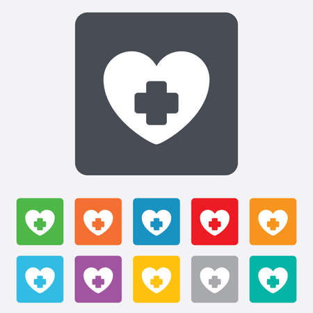 Medical heart sign icon. Cross symbol. Rounded squares 11 buttons. photo