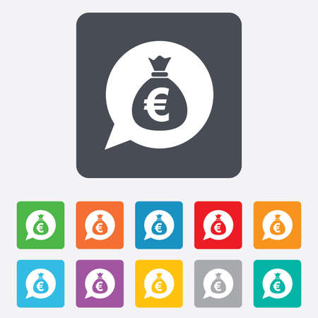 eur: Money bag sign icon. Euro EUR currency speech bubble symbol. Rounded squares 11 buttons.