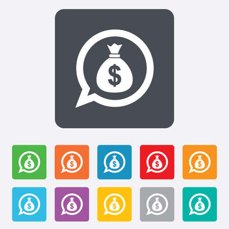Money bag sign icon. Dollar USD currency speech bubble symbol. Rounded squares 11 buttons. photo