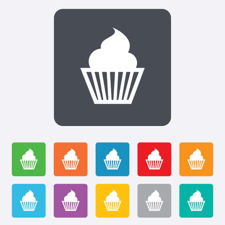 Muffin sign icon. Cupcake symbol. Rounded squares 11 buttons. photo