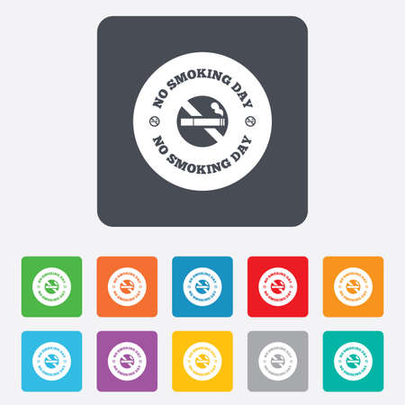 No smoking day sign icon. Quit smoking day symbol. Rounded squares 11 buttons. photo