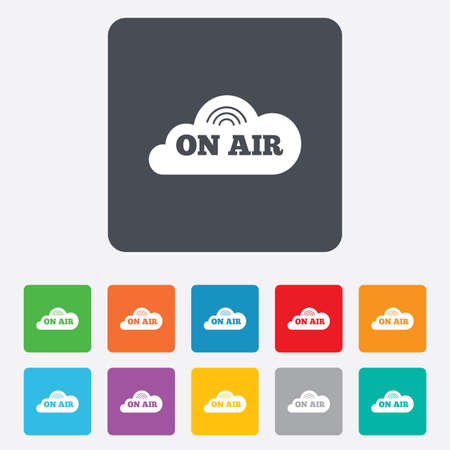 live stream radio: On air sign icon. Live stream symbol. Rounded squares 11 buttons.