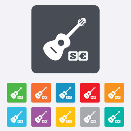 Acoustic guitar sign icon. Paid music symbol. Rounded squares 11 buttons.