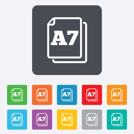 a7: Paper size A7 standard icon. File document symbol. Rounded squares 11 buttons.