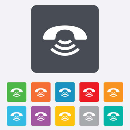 Phone sign icon. Support symbol. Call center. Rounded squares 11 buttons. photo