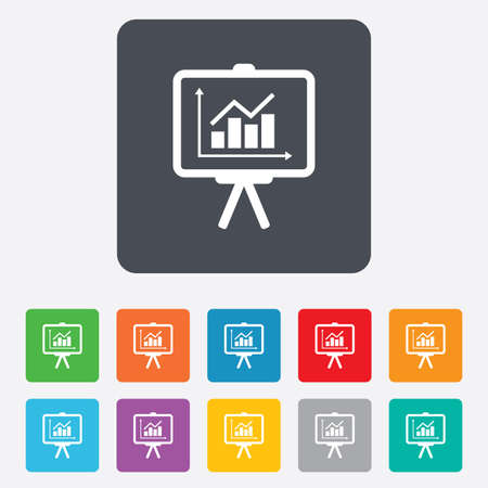 Presentation billboard sign icon. Scheme and Diagram symbol. Rounded squares 11 buttons. photo