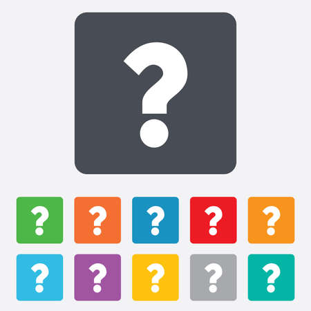 Question mark sign icon. Help symbol. FAQ sign. Rounded squares 11 buttons. photo