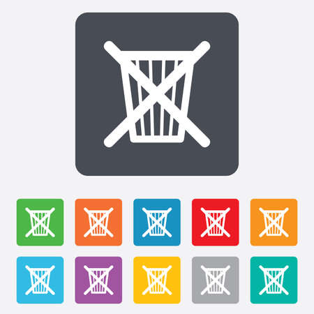 Do not throw in trash. Recycle bin sign icon. Rounded squares 11 buttons. photo