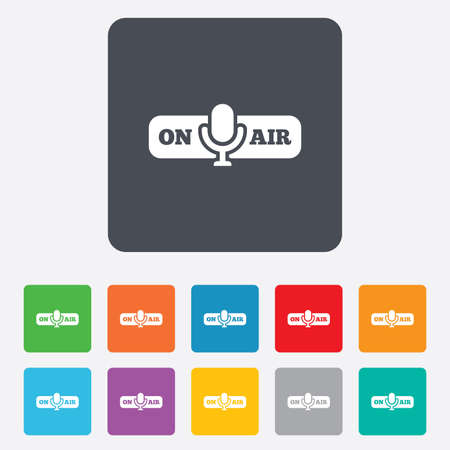 live stream radio: On air sign icon. Live stream symbol. Microphone symbol. Rounded squares 11 buttons.