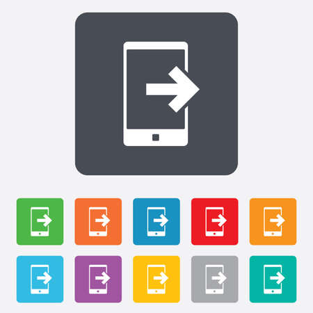 outcoming: Outcoming call sign icon. Smartphone symbol. Rounded squares 11 buttons. Stock Photo