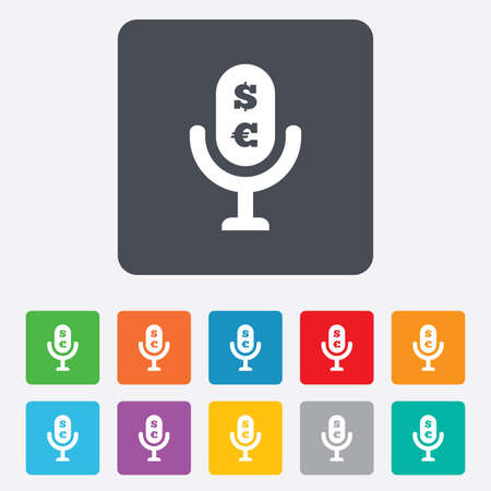 Microphone icon. Speaker symbol. Paid music sign. Rounded squares 11 buttons.